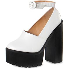 Black And White Chunky Platform Heels (€31) ❤ liked on Polyvore featuring shoes, pumps, pink, platform shoes, pink platform shoes, black white shoes, chunky-heel pumps and closed toe platform shoes