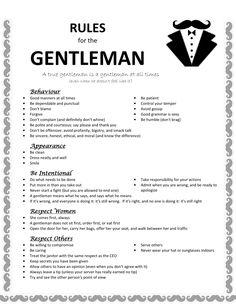 Rules for the true gentlemen.