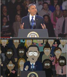 Les scripteurs de South Park ont écrit et réalisé cet épisode six jours après la victoire de Barack #Obama. / The writers of South Park have written and directed this episode six days after the victory of Barack Obama.