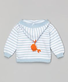 Victoria Kids Blue & White Stripe Crab Hooded Cardigan - Infant | zulily
