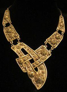 "Rare! Huge 15"" Runway Signed Etrusceana Rice Weiner Unique Buckle Necklace /389"