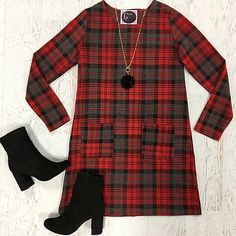 Happy in Plaid Dress Paired with Black Soul Mate Tall Ankle Bootie and a Swirl Pendant Necklace from Cousin Couture.