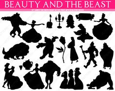 Beauty and the Beast Silhouettes: Belle, Gaston, Lumiere, Fifi, LeFou, the Bimbettes, Mrs. and Chip Potts, Rose, Wardrobe. 18 images total. - pinned by pin4etsy.com