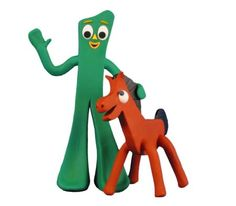 Gumby & Pokey!  I loved my poseable Gumby & Pokey figures.  I don't know why but I did -- and they always make me feel nostalgic whenever I see a Gumby & Pokey. I went thru several sets of Gumby's & Pokey's as a kid, as the bendable wires in their arms would eventually always give out from playing with them.