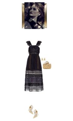 """""""Navy and gold"""" by blueeyed-dreamer ❤ liked on Polyvore featuring self-portrait, René Caovilla, Jimmy Choo, Aurélie Bidermann, contest, gold, dress and formal"""