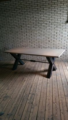 Concrete,steel industrial table