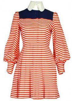 Red striped dress with blue yoke and white collar, by Jean Patou, French, 1970s.