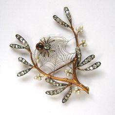 Victorian diamond and pearl mistletoe brooch