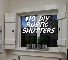 The best DIY projects & DIY ideas and tutorials: sewing, paper craft, DIY. DIY Furniture Plans & Tutorials : Create your own beautiful window treatment with this DIY rustic shutters tutorial. Rustic Shutters, Diy Shutters, Indoor Shutters For Windows, Diy Interior Shutters, Rustic Curtains, Primitive Shutters, Shutters Inside, Country Shutters, Small Shutters