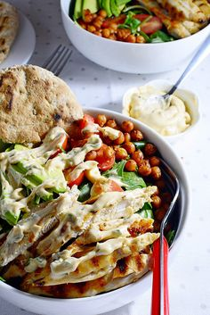 Spicy Grilled Chicken Salad with Crispy Chickpeas and Chipotle Dressing Raspberry Syrup Recipes, Chipotle Dressing, Spicy Grilled Chicken, Crispy Chickpeas, Recipe Box, Meat, Cooking, Food, Chipotle Sauce