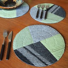 Upcycled wool placemats.
