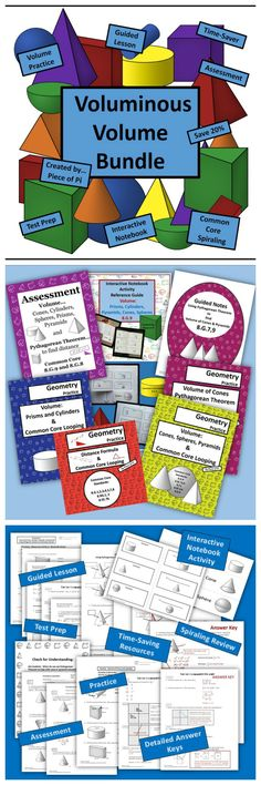 Voluminous Volume GROWING Bundle!  Includes 4 Spiraling Practice Resources, Assessment, Guided Notes, and an Interactive Notebook Activity.  I created these resources and used them successfully with my 8th graders!  Students get practice with 18 of the Common Core Math Standards - it's a fantastic way for them to retain concepts! Save 20% with the purchase of this bundle, rather than buying all the resources separately.