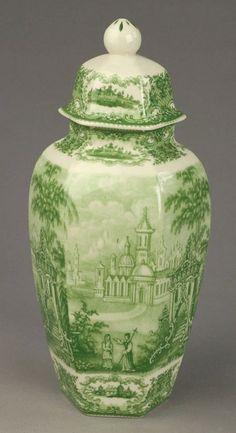 Porcelain Ginger Jar with Castle Scene.