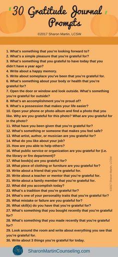 30 Gratitude Journal Prompts