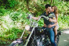 If your fiancé is obsessed with his motorcycle (or car), take a ride during your photos.