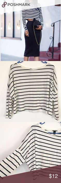 Selling this Oversized Striped Crop Top for $5 on Poshmark! My username is: amyyarmak. #shopmycloset #poshmark #fashion #shopping #style #forsale #H&M #Tops
