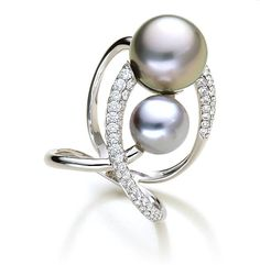 A LOVE EMBRACE Tahitian Pearls Ring with 79 diamonds at 1.20ct. http://www.udozzo.com/products/a-love-embrace