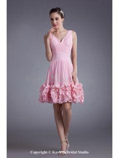 Chiffon V-neck Knee-Length Column Cocktail Dress