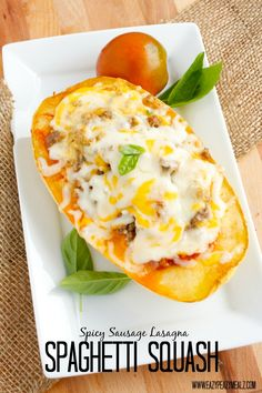 Spicy Sausage Lasagna Spaghetti Squash: a perfectly enjoyable way to use spaghetti squash instead of noodles for a healthier lasagna with all the flavor! - Eazy Peazy Mealz
