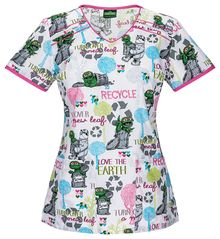 2027ef39071 Sesame Street Oscar Loves The Earth Scrub Top For Women Disney Scrub Tops, Disney  Scrubs