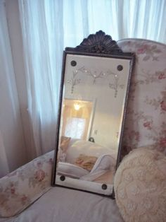 Antique Bevelled Art Deco ETCHED Mirror ~Shell Crown~ Silver and Gold Gilt Frame