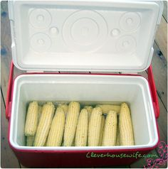 Corn for a Crowd: Wash cooler. Place corn in cooler. Pour enough boiling water to cover corn. Close lid and let it set for 30 min. Corn will keep warm and ready to eat for 2 hrs. Very cool idea! Cooking For A Crowd, Food For A Crowd, Cooking Tips, Cooking Recipes, Cooking Corn, Corn Recipes, Vegetable Recipes, Recipies, Cooler Corn