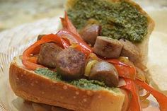 Handheld Dinner: Sausage-and-Peppers Pesto Recipe
