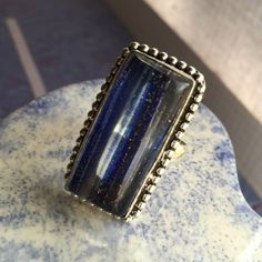 Dichroic glass ring NWOT Sterling silver and blue dichroic glass ring size 9  Jewelry Rings