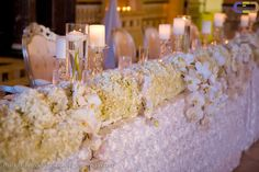Our Snow Rose Rouched Elegance (linen), Kathy Wright & Co. (floral design)