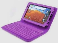 MegaGear Samsung Galaxy P3113 P6200 P6210 Tab 2 7.0 Keyboard Case - Purple Leather Case with Integrated Bluetooth Keyboard MegaGear