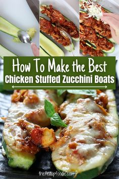 These stuffed zucchinis have tender shredded chicken in a quick and simple Italian tomato sauce (Pomodoro Sauce) and are topped with mozzarella. This dinner is easy, healthy and delicious. #ZucchiniBoats #StuffedZucchini #StuffedZucchiniBoats #ChickenZucchiniBoats #ChickenStuffedZucchini #ItalianStuffedZucchini #ChickenZucchiniBoats #HealthyZucchiniBoats #ItalianStuffedZucchiniBoats #StuffedZucchiniBoatsHealthy #ChickenStuffedZucchiniBoats Best Chicken Recipes, Meat Recipes, Real Food Recipes, Summer Recipes, Fall Recipes, Zucchini Benefits, Chicken Zucchini Boats, Pork And Beef Recipe, Lemon Garlic Pasta