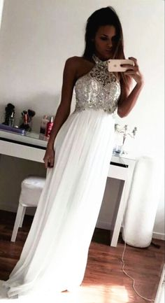 Charming Beading A-Line Prom Dresses,Long Evening Dresses,