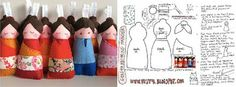Felt Geisha Dolls with pattern and lots of other fun craft patterns