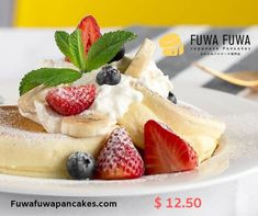 First Soufflé Pancake Shop from Tokyo to open in Toronto. Handcrafted Pancakes originated from Japan. Fuwa Fuwa means fluffy fluffy in Japanese and that is the feeling you'll get when having our pancakes. Pancake Shop, Fuwa Fuwa, Souffle Pancakes, Japanese Pancake, Fluffy Pancakes, Brunch Menu, Toronto, Fresh, Dishes