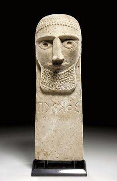 A SOUTH ARABIAN LIMESTONE PILLAR STELE CIRCA 2ND CENTURY B.C.-2ND CENTURY A.D.