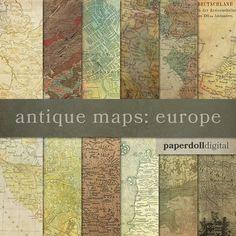 Antique Map Digital Paper Vintage Maps European Maps