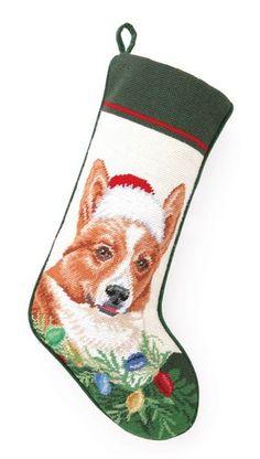 Needlepoint Dog Breed Christmas Stockings - Dog Chic Boutique  Cute Corgi Santa http://store.dogchicboutique.com/needlepoint-dog-breed-christmas-stockings $37.75