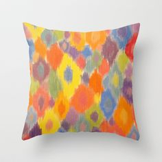 Feathered Kaleidoscope Throw Pillow by Rachel Winkelman - $20.00