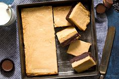 Have the best of both worlds in one bite with these Peanut Butter Cheesecake Brownies - one layer of homemade fudgy brownies with peanut butter cups topped with a creamy, decadent layer of peanut butter cheesecake. Bring on the chocolate peanut butter goodness.