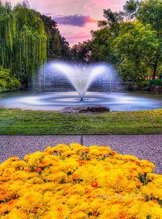 Sunset Down by the Fountain, Fort Worth Botanical Gardens, Texas. Photo: dfikar1, via Flickr