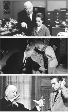 "Alfred Hitchcock directing Sean Connery and Tippi Hedren during the filming of ""Marnie"", 1964"