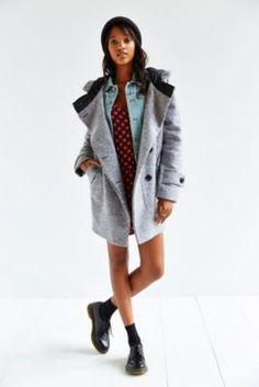 Numph Morgan Grey Wool Coat