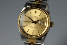 1987 Rolex Two Tone DateJust 16013 Vintage Rolex Watch, Availability: Sold, Vintage Rolex, Vintage Watches, Oyster Perpetual Datejust, Overnight Shipping, Vintage Branding, Two Tones, Gold Watch, Rolex Watches, Vintage Surf