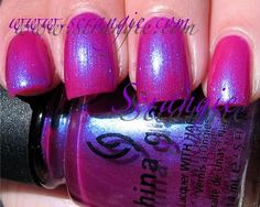 China Glaze Reggae to Riches. Magenta pink with blue/blurple duochrome shimmer. takes 3 coats at least to avoid vnl. 7/10