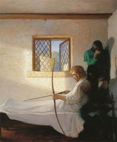 One of my favorite illustrations when I was a kid! The Passing of Robin Hood  Artist: N.C. Wyeth
