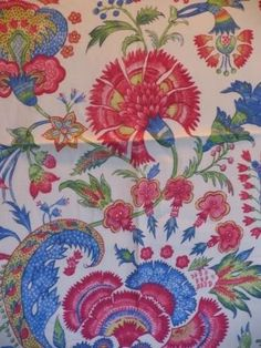 "Beautiful Fabric Store – An Online Decorator Fabric Shop Refreshing 100% Linen large scale floral pattern in a beautiful color scheme including pink, coral green, and blue. See this one a kind fabric in your home with a sample cut Pattern: Spacey Pavillion Fiber Content: 100% Linen Width: 54 inches Repeat: V 25.5"" - H 54.0 "" Applications: Upholstery,Drapery,Bedding,Pillows"