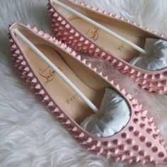 Bubblegum pink studded #Louboutin flats? Yes, please! Check out more great products on free local shopping app Snapette - www.snapette.com/app