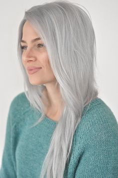 Want perfect silver hair but without all the upkeep? Grey Hair Don't Care, Long Gray Hair, Grey Wig, Silver Grey Hair, Hair Care, Blonde Color, Hair Color, Pelo Color Plata, White Hair