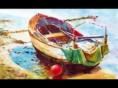 Painting a watercolour: Little boat - YouTube