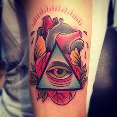 traditional heart/eye tattoo